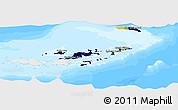 Flag Panoramic Map of British Virgin Islands, single color outside, bathymetry sea