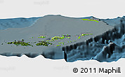 Physical Panoramic Map of British Virgin Islands, darken