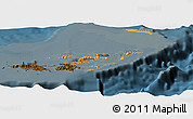 Political Shades Panoramic Map of British Virgin Islands, darken