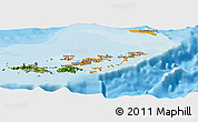 Political Shades Panoramic Map of British Virgin Islands, satellite outside, bathymetry sea