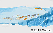 Political Shades Panoramic Map of British Virgin Islands, shaded relief outside, bathymetry sea
