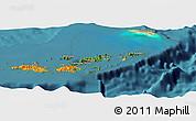 Satellite Panoramic Map of British Virgin Islands, political outside, satellite sea