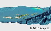 Satellite Panoramic Map of British Virgin Islands, shaded relief outside, satellite sea
