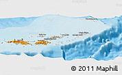 Shaded Relief Panoramic Map of British Virgin Islands, political outside, shaded relief sea