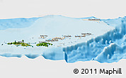 Shaded Relief Panoramic Map of British Virgin Islands, satellite outside, shaded relief sea