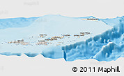 Shaded Relief Panoramic Map of British Virgin Islands, semi-desaturated, land only