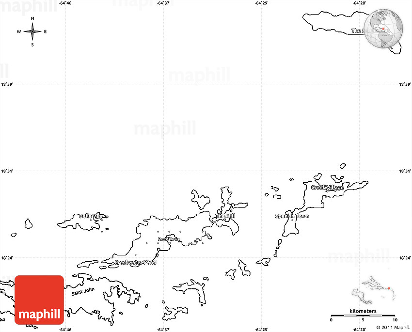 Blank Simple Map of British Virgin Islands