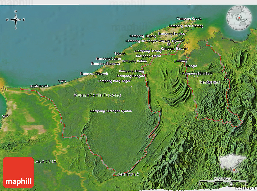 Satellite 3D Map of Brunei