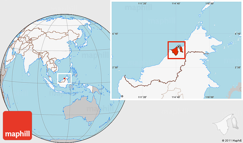 where is brunei on the map Gray Location Map Of Brunei Highlighted Continent where is brunei on the map