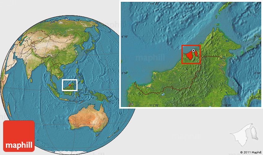 Satellite Location Map Of Brunei - World satellite map with countries