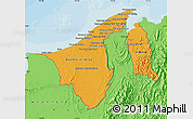 Political Shades Map of Brunei