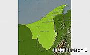 Physical Map of Muara/Seria/Tutong, darken