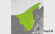 Physical Map of Muara/Seria/Tutong, desaturated