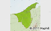 Physical Map of Muara/Seria/Tutong, lighten