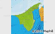 Physical Map of Muara/Seria/Tutong, political outside