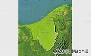 Physical Map of Muara/Seria/Tutong, satellite outside