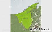 Physical Map of Muara/Seria/Tutong, semi-desaturated