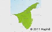 Physical Map of Muara/Seria/Tutong, single color outside