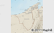 Shaded Relief Map of Muara/Seria/Tutong