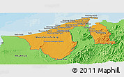 Political Shades Panoramic Map of Brunei