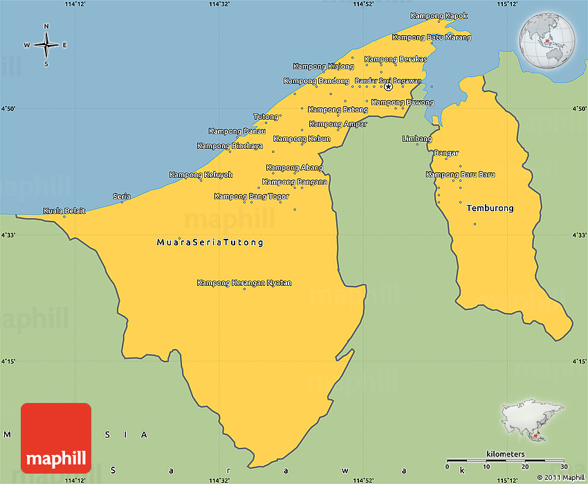 Savanna Style Simple Map of Brunei