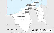 Silver Style Simple Map of Brunei
