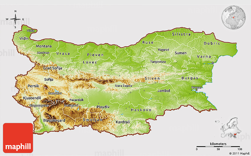 Physical 3D Map of Bulgaria cropped outside
