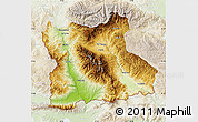 Physical Map of Blagoevgard, lighten
