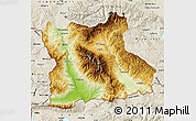 Physical Map of Blagoevgard, shaded relief outside