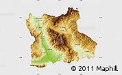 Physical Map of Blagoevgard, single color outside