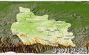 Physical 3D Map of Gabrovo, darken