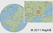 Savanna Style Location Map of Gabrovo, hill shading