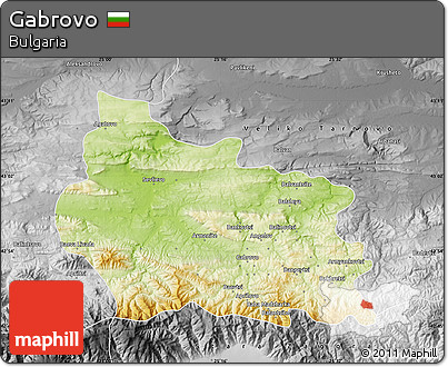 Physical Map of Gabrovo, desaturated