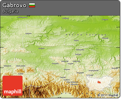 Physical Map of Gabrovo