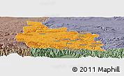 Political Panoramic Map of Gabrovo, semi-desaturated