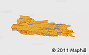 Political Panoramic Map of Gabrovo, single color outside