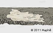 Shaded Relief Panoramic Map of Gabrovo, darken