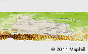 Shaded Relief Panoramic Map of Gabrovo, physical outside