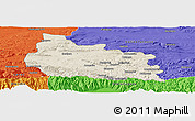 Shaded Relief Panoramic Map of Gabrovo, political outside