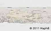 Shaded Relief Panoramic Map of Gabrovo, semi-desaturated