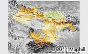 Physical 3D Map of Grad Sofija, desaturated