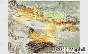 Physical 3D Map of Grad Sofija, semi-desaturated
