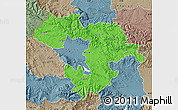 Political Map of Grad Sofija, semi-desaturated