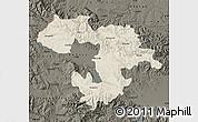 Shaded Relief Map of Grad Sofija, darken