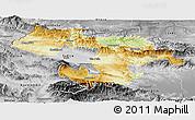Physical Panoramic Map of Grad Sofija, desaturated