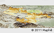 Physical Panoramic Map of Grad Sofija, semi-desaturated