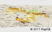 Physical Panoramic Map of Grad Sofija, shaded relief outside