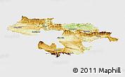 Physical Panoramic Map of Grad Sofija, single color outside