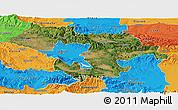Satellite Panoramic Map of Grad Sofija, political outside