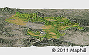 Satellite Panoramic Map of Grad Sofija, semi-desaturated